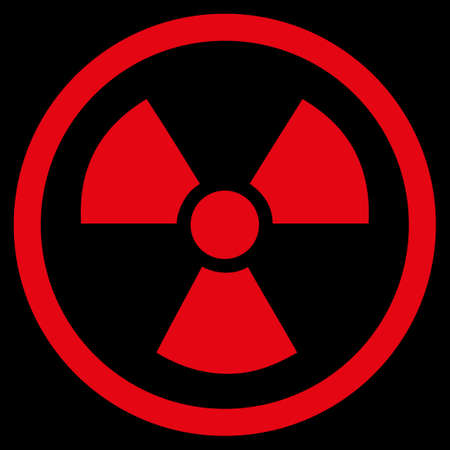 uranium: Radiation Danger raster icon. Style is flat symbol, red color, rounded angles, black background.