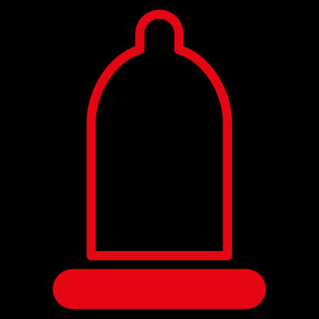 red condom: Preservative raster icon. Style is flat symbol, red color, rounded angles, black background.