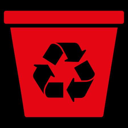 papelera de reciclaje: Recicle el icono trama Bin. El estilo es el s�mbolo plana, de color rojo, �ngulos redondeados, fondo negro. Foto de archivo