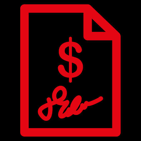 chequebook: Signed Invoice raster icon. Style is flat symbol, red color, rounded angles, black background. Stock Photo