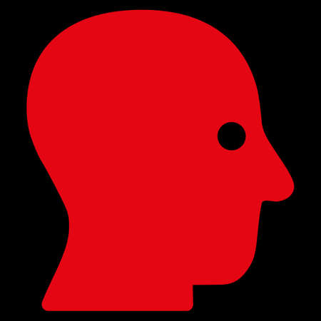 silent: Silent Head raster icon. Style is flat symbol, red color, rounded angles, black background.