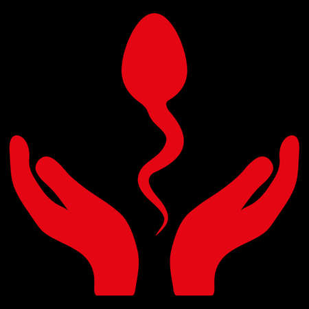 goad: Sperm Care raster icon. Style is flat symbol, red color, rounded angles, black background.