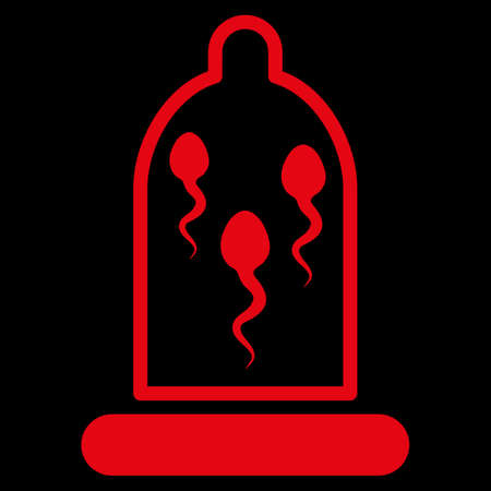 raster sex: Sperm In Condom raster icon. Style is flat symbol, red color, rounded angles, black background. Stock Photo