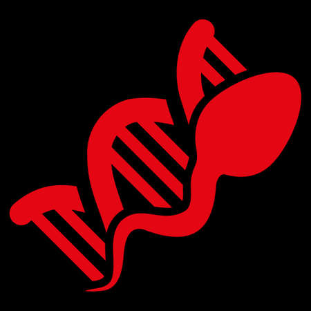 raster sex: Sperm Replication raster icon. Style is flat symbol, red color, rounded angles, black background.