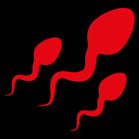 goad: Sperm raster icon. Style is flat symbol, red color, rounded angles, black background. Stock Photo