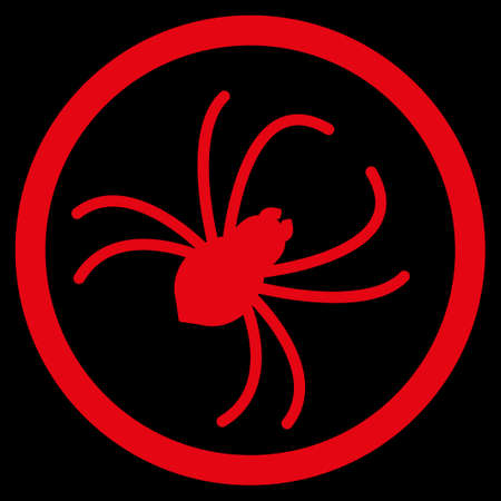 web crawler: Spider raster icon. Style is flat symbol, red color, rounded angles, black background. Stock Photo