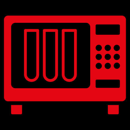 disinfect: Sterilizer raster icon. Style is flat symbol, red color, rounded angles, black background.