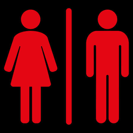 raster sex: Toilets raster icon. Style is flat symbol, red color, rounded angles, black background.