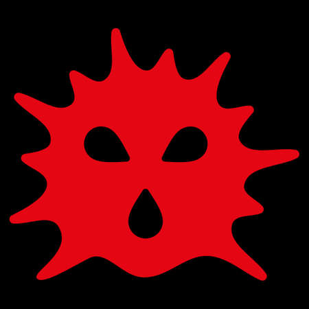 goad: Virus Structure raster icon. Style is flat symbol, red color, rounded angles, black background.