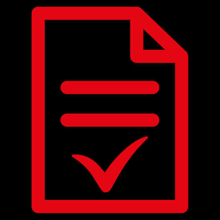 valid: Valid Document raster icon. Style is flat symbol, red color, rounded angles, black background.