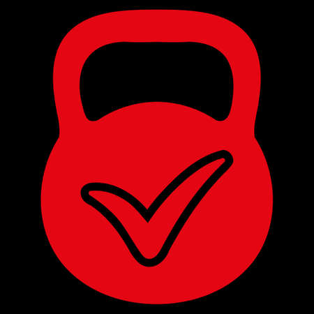valid: Valid Mass raster icon. Style is flat symbol, red color, rounded angles, black background. Stock Photo