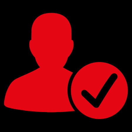 valid: Valid Patient raster icon. Style is flat symbol, red color, rounded angles, black background.