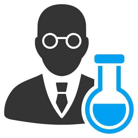chemist: Chemist vector icon. Style is bicolor flat symbol, blue and gray colors, rounded angles, white background.