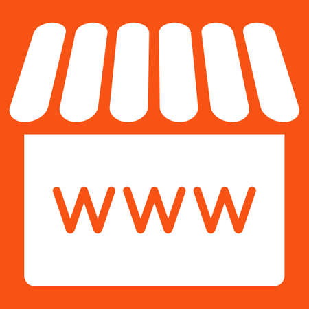 alibaba: Webstore icon. Vector style is flat symbol, white color, rounded angles, orange background. Illustration