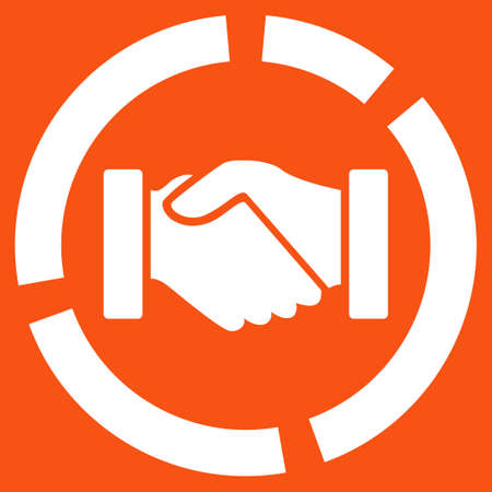 acquisition: Acquisition diagram icon. Vector style is flat symbol, white color, rounded angles, orange background.