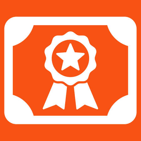 attest: Certificate icon. Vector style is flat symbol, white color, rounded angles, orange background.