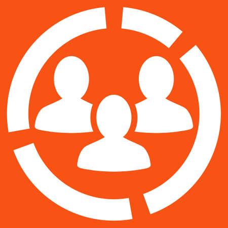 demografia: Icono de diagrama de Demografía. Estilo Vector es símbolo plana, color blanco, ángulos redondeados, fondo anaranjado.
