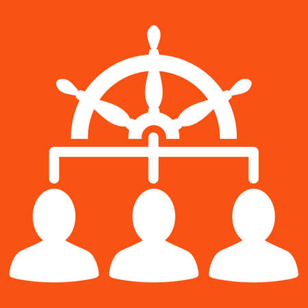 administer: Management icon. Vector style is flat symbol, white color, rounded angles, orange background. Illustration