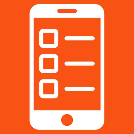electronic survey: Mobile test icon. Vector style is flat symbol, white color, rounded angles, orange background.