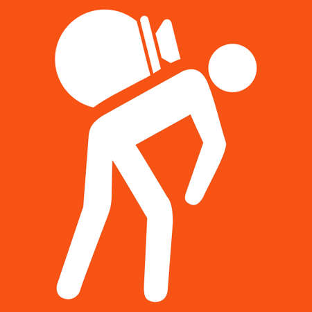 porter: Porter icon. Vector style is flat symbol, white color, rounded angles, orange background. Illustration