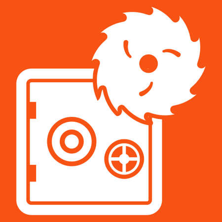 white color: Hacking theft icon. Vector style is flat symbol, white color, rounded angles, orange background.