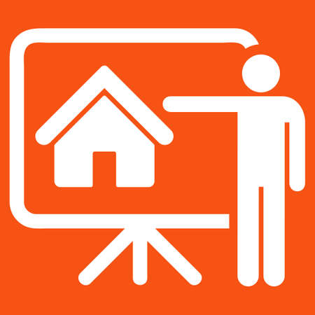 realtor: Realtor icon. Vector style is flat symbol, white color, rounded angles, orange background.