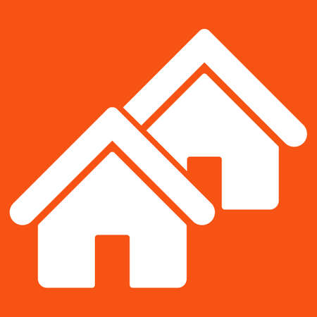 rural development: Realty icon. Vector style is flat symbol, white color, rounded angles, orange background.