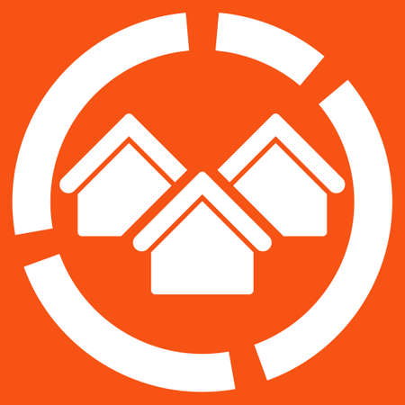 realty: Realty diagram icon. Vector style is flat symbol, white color, rounded angles, orange background. Illustration
