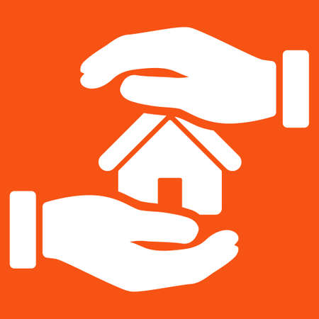 housing project: Realty insurance icon. Vector style is flat symbol, white color, rounded angles, orange background.