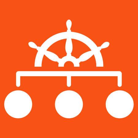 Regel icoon. Vector stijl is vlak symbool, witte kleur, afgeronde hoeken, oranje achtergrond. Stock Illustratie