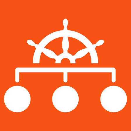 administer: Rule icon. Vector style is flat symbol, white color, rounded angles, orange background.