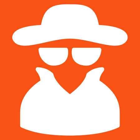 Spy icon. Vector style is flat symbol, white color, rounded angles, orange background.