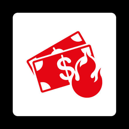 collapse: Fire Accident icon from Commerce Buttons OverColor Set. Vector style is red and white colors, flat square rounded button, black background. Illustration