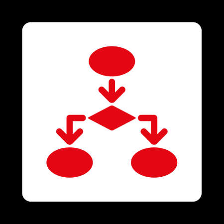 flowchart: Flowchart icon from Commerce Buttons OverColor Set. Vector style is red and white colors, flat square rounded button, black background. Illustration