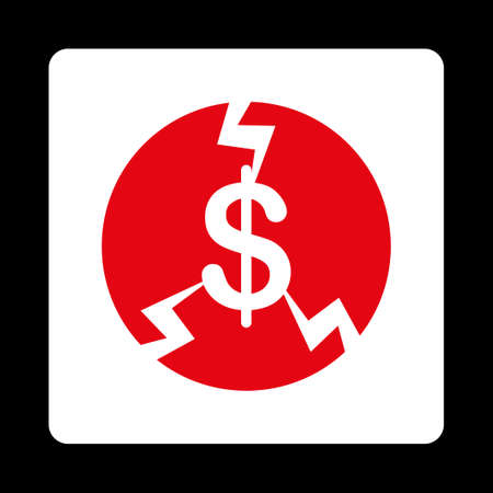 economic depression: Financial Crash icon from Commerce Buttons OverColor Set. Vector style is red and white colors, flat square rounded button, black background.