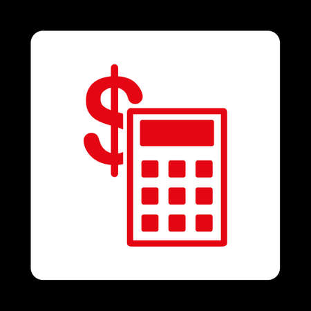 estimation: Calculation icon from Commerce Buttons OverColor Set. Vector style is red and white colors, flat square rounded button, black background.