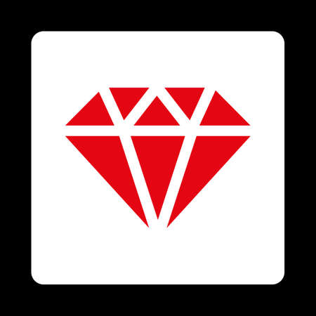 karat: Diamond icon from Commerce Buttons OverColor Set. Vector style is red and white colors, flat square rounded button, black background. Illustration