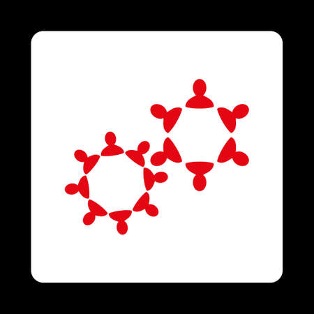 collaborator: Collaboration icon from Commerce Buttons OverColor Set. Vector style is red and white colors, flat square rounded button, black background.
