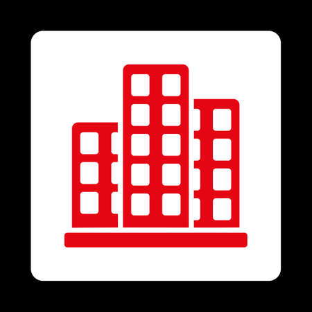burg: City icon from Commerce Buttons OverColor Set. Vector style is red and white colors, flat square rounded button, black background. Illustration