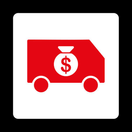 collector: Collector Car icon from Commerce Buttons OverColor Set. Vector style is red and white colors, flat square rounded button, black background. Illustration