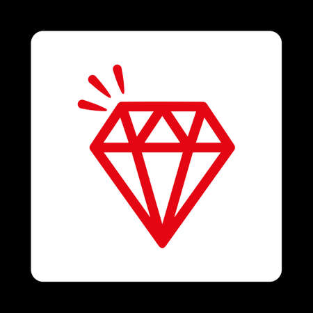 crystal button: Crystal icon from Commerce Buttons OverColor Set. Vector style is red and white colors, flat square rounded button, black background. Illustration