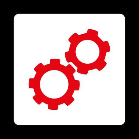 Pictogram van Gears van Commerce Buttons OverColor Set. Vectorstijl is rode en witte kleuren, platte vierkante afgeronde knop, zwarte achtergrond. Stock Illustratie