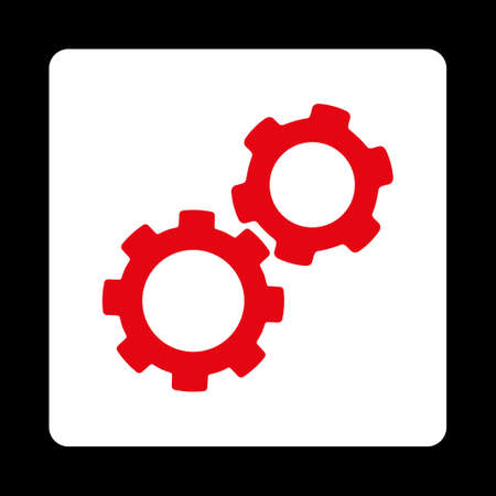 Gears icon from Commerce Buttons OverColor Set. Vector style is red and white colors, flat square rounded button, black background. Illustration