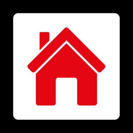 birthplace: House icon from Commerce Buttons OverColor Set. Vector style is red and white colors, flat square rounded button, black background. Illustration