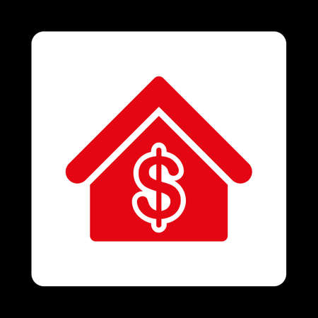 buy icon: Mortgage icon from Commerce Buttons OverColor Set. Vector style is red and white colors, flat square rounded button, black background.