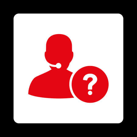 service desk: Online Support icon from Commerce Buttons OverColor Set. Vector style is red and white colors, flat square rounded button, black background.