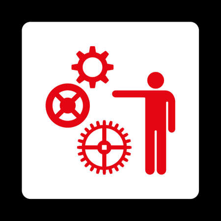 gear box: Project icon from Commerce Buttons OverColor Set. Vector style is red and white colors, flat square rounded button, black background.