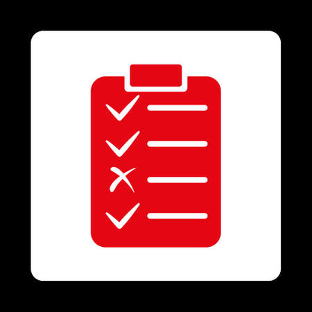 enumerate: Task List icon from Commerce Buttons OverColor Set. Vector style is red and white colors, flat square rounded button, black background.