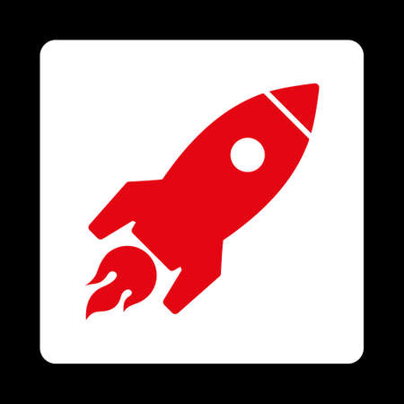 satellite launch: Rocket Launch icon from Commerce Buttons OverColor Set. Vector style is red and white colors, flat square rounded button, black background.