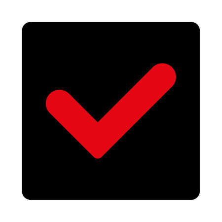 Yes icon. This rounded square flat button is drawn with intensive red and black colors on a white background.